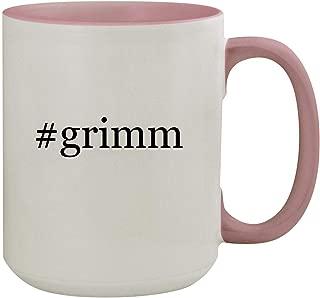 #grimm - 15oz Hashtag Colored Inner & Handle Ceramic Coffee Mug, Pink