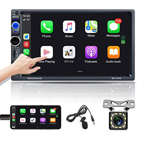 OiLiehu Autoradio doppio Din Bluetooth 7 '' Lettore HD MP5 Touch screen con supporto D-play FM / USB / TF / microfono esterno / AUX-in / Mirror Link per Android IOS + telecomando(senza batteria)
