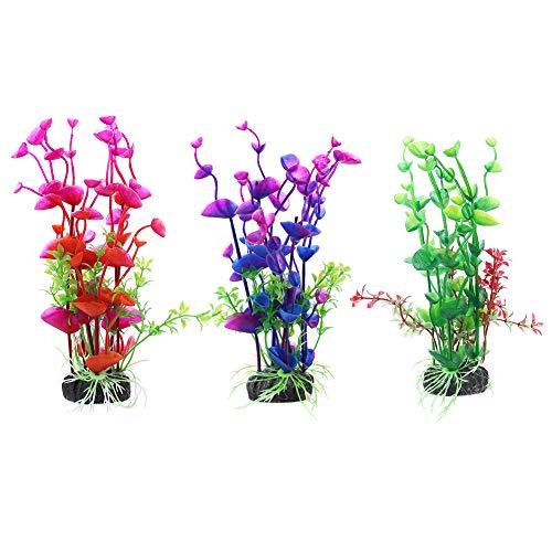Auxsoul 3 Piezas de Plantas Acuáticas Artificiales Decoraciones Plásticas del Tanque de Peces Plantas de Acuario Artificiales bajo el Agua - Verde Rojo Morado
