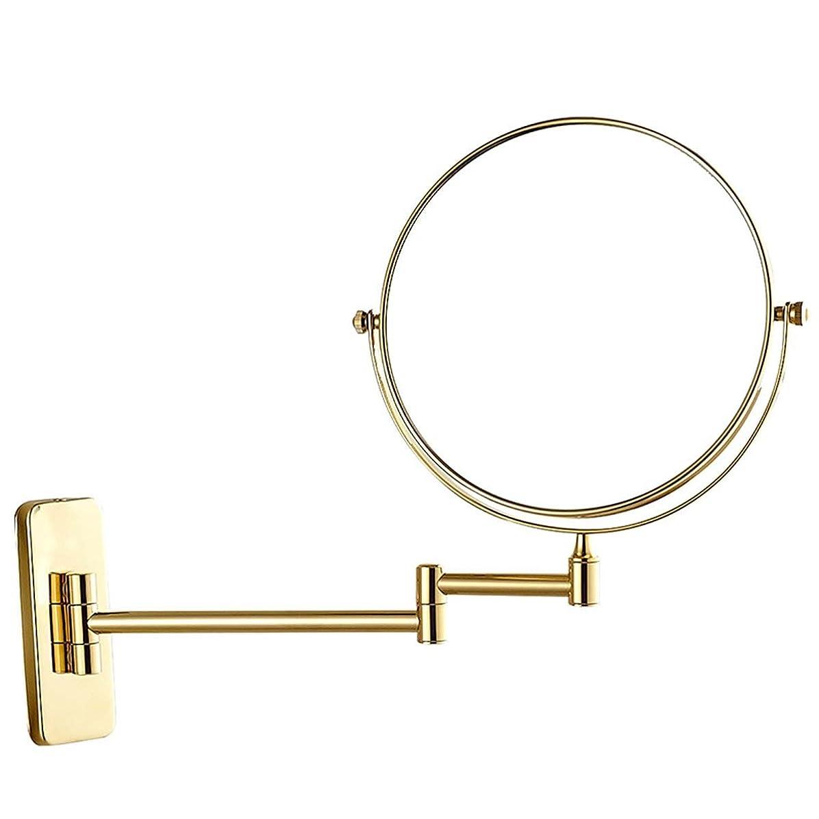 オフェンス発生するいじめっ子浴室化粧鏡、壁掛け折りたたみ式クリエイティブヨーロッパスタイルバニティミラー、13 * 27 * 15 cm、ステンレススチールベース (Color : Gold)