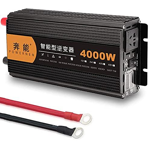 Inversor de energía de onda sinusoidal pura 3200W 4000W 5000W 6000W 8000W 9000W 12000W 15000W DC 12V / 24V a AC 220 / 240V para autocaravanas, camiones, barcos, hogar,4000W-24V