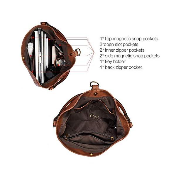 CLUCI Briefcase for Women Oil Wax Leather 15.6 Inch Laptop Business Vintage Slim Ladies Shoulder Bag Beige with Brown Handbags Purse for Women Designer Genuine Leather Brown 5