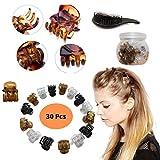 Pinza de pelo para mujer – Mini pinzas de pelo para niños y mujeres accesorios con un tarro para almacenamiento y desenredar cepillo de pelo (juego de 30)