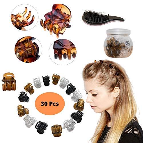 Pinces à cheveux pour femmes - Mini pinces à cheveux pour enfants et femmes - Accessoires avec un pot pour ranger et démêler la brosse à cheveux (lot de 30)