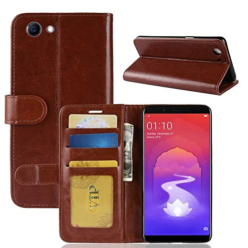 Ranjinincas Crazy Horse Texture Horizontal Flip Leder Tasche for Oppo Realme 1 und F7 Jugend A73S, mit Geldbörse & Kartenhalter (Schwarz) (Farbe : Brown)