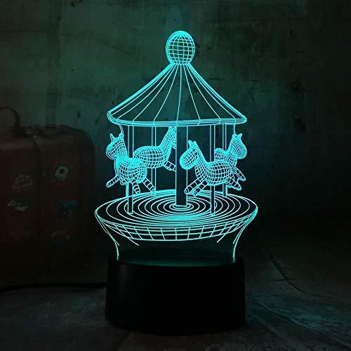 7 Farben Feuerzeug-Go-Round 3D Led 7 Farbwechsel Tischlampe Nachtlicht Bedroon Dectouch Schalter Mit Usb-Kabel Für Kinder Baby Raumdekoration Kreative Chirsmas Geburtstagsgeschenke