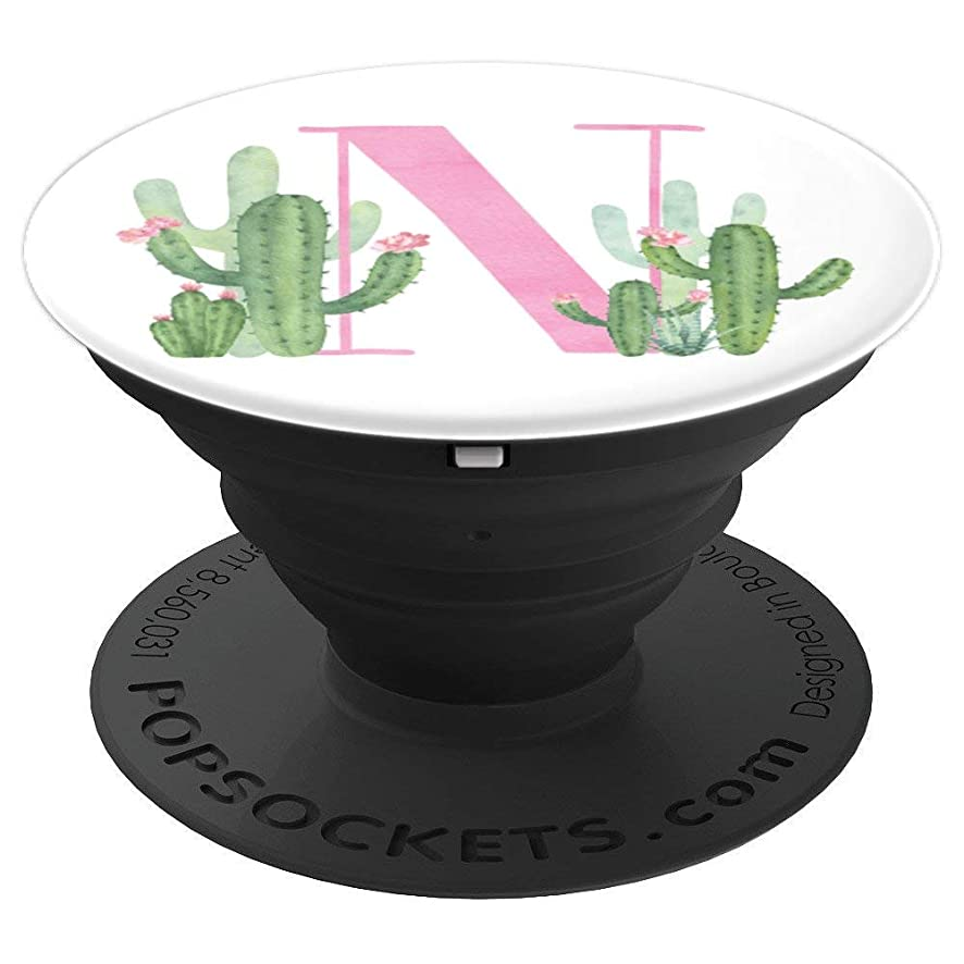 Cactus Cacti Pink White Watercolor Monogram Initial Letter N - PopSockets Grip and Stand for Phones and Tablets