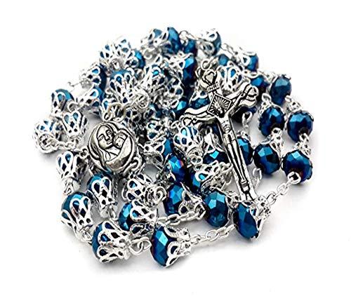 Nazaret Store Rosario Azul Profundo Collar católico Cuentas de Cristal con Tapas de Metal Medalla del Suelo Sagrado de Jerusalén - Bolsa de Terciopelo