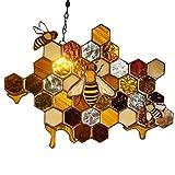 Bymon Queen & Bee Protect Honey Suncatcher Mosaic Honey Handmade Honeycomb Farmhouse Home Garden Decorations Party Supplies