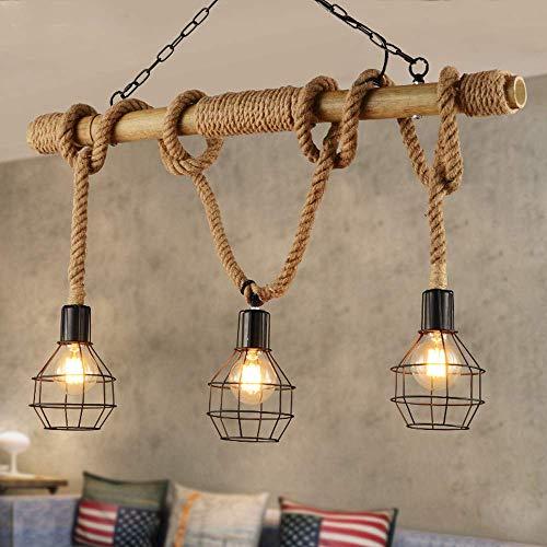 Hanglamp vintage rustieke hanglamp voor woonkamer keuken eetkamer tafel loft bar hanglamp henneptouw bamboe ijzer zwart lampenkap verlichting