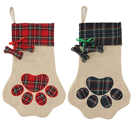 Xiaxiacole 2 Pieces Burlap Christmas Stockings Paw Stockings for Pet Dog Cat Plaid Santa Stocking Fireplace Hanging Stockings Personalize Christmas Decoration (Plaid Burlap Paw Stockings)
