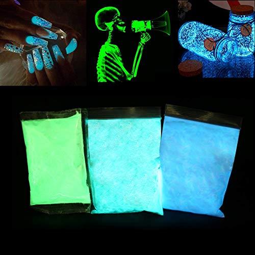 Brrnoo Polvere Fluorescente, 3 * 100 g Pigmenti luminescenti Professionali Colore Fosforescente Fotoluminescenza Alluminio Non tossico Alluminio Stronzio Luci al Neon Notti di pigmento Scuro (01)