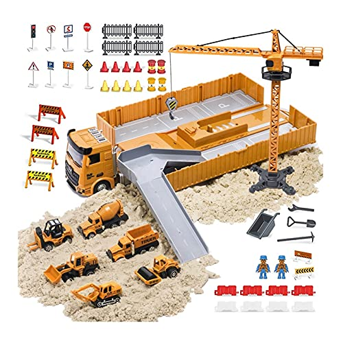OR OR TU Alloy Construction Trucks Vehicle Toys for Boys Kids Music Lights Effects,Excavator,Crane,Tractor,Cement Engineering Truck Playset for 3 4 5+ Years Old Children Birthday Gift