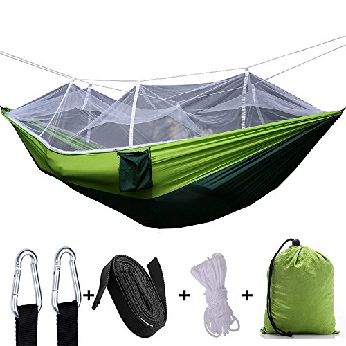 GEQWE Camping Hammock Hammock Tree Belt and Carabiner Single Or Double Camping Hammock Parachute Nylon Hammock with Mosquito Net/Insect Net Portable Hammock (Color : Fruit Green)