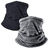 Aoutacc 2er Pack Nackenschutz Gesichtsmaske, Winter Ski Nackenwärmer Kaltes Wetter Outdoor Sports Windproof Half Balaclava Mask (Black+Gray)