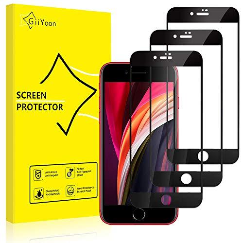 """GiiYoon Protector de Pantalla [3 Piezas], Alta Definicion Vidrio Templado HD Protector para iPhone SE 2020/iPhone 7/8(4.7""""),[Cristal Templado 3D] [Sin Burbujas] [Cobertura Completa] [9H Dureza]"""