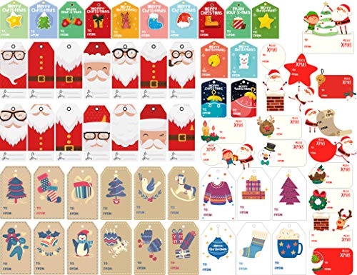 KIDPAR 420 PCS Christmas Tags Self-Adhesive Stickers Wrapping Paper Bags Holiday Decorative Labels Decals