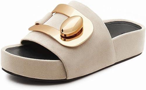 HhGold Frühling und Sommer runde Zehe Dicke untere Damenhausschuhe Sandalen (Farbe   A, Größe   38)