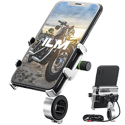 """ILM Motorcycle Phone Mount Aluminum Upgraded USB 3.0 Quick Charge 360° Rotation Bike Holder Accessories Compatible with iPhone 12 XS XR 11 6s 7 Galaxy S10 S8 S20 Holds Phone up to 3.9"""" Wide (Silver)"""
