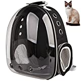 XZKING Pet Carrier Backpack,Cat Bubble Backpack,Approved Ventilate Transparent Space Capsule Dome Backpack for Travel Hiking (Black)