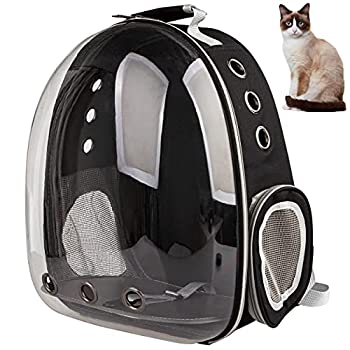 XZKING Pet Carrier Backpack,Cat Bubble Backpack,Approved Ventilate Transparent Space Capsule Dome Backpack for Travel Hiking  Black