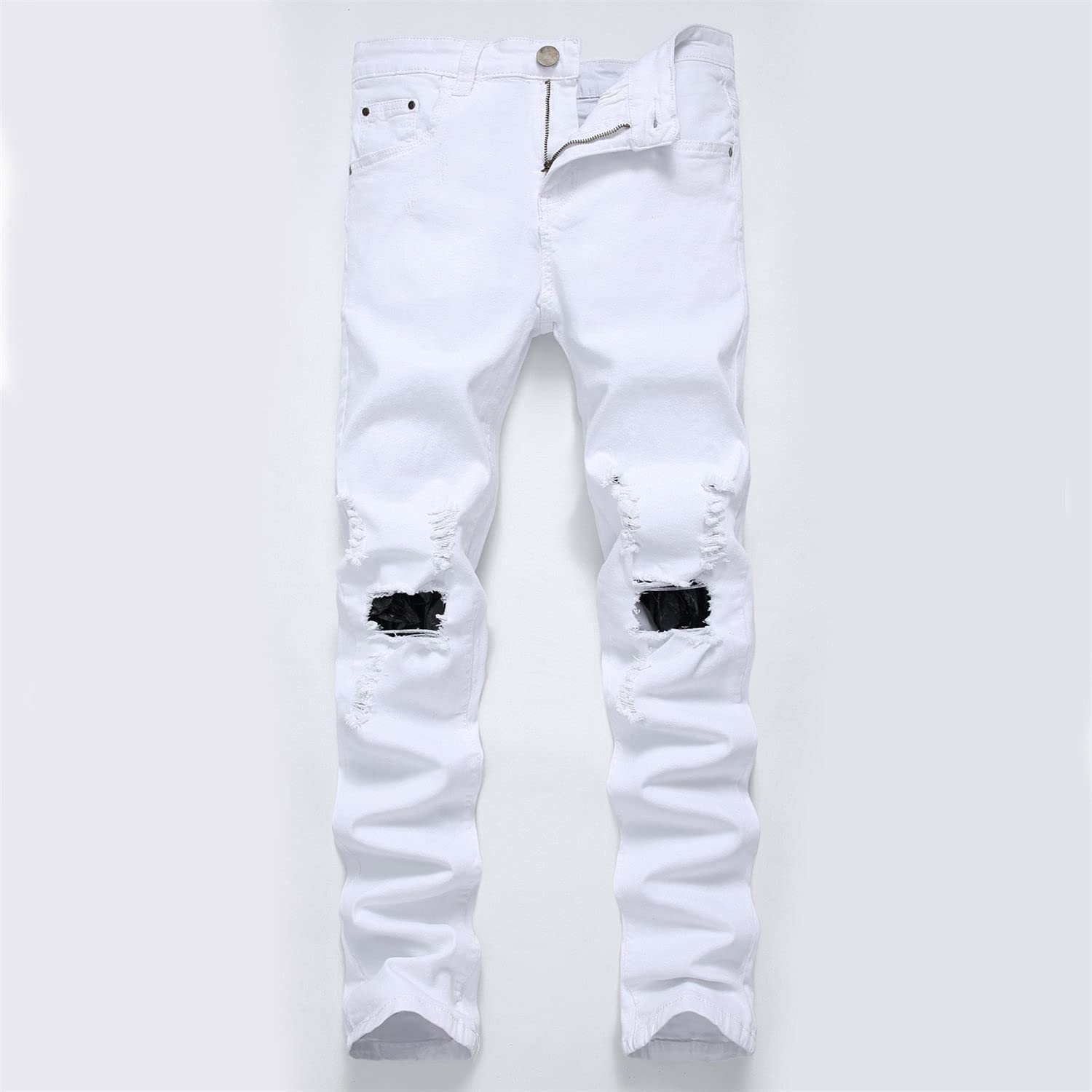 Men's Ripped Slim Casual Distressed Denim Pants Fit Straight with Zipper Jeans Skinny Retro Stretch Jean Trousers
