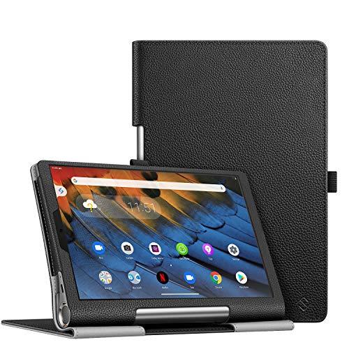 Fintie Folio Funda Compatible con Lenovo Yoga Smart Tab - Tablet de 10.1' (YT-X705F) Slim Fit Carcasa Protectora de Cuero Sintético con Banda Elástica para Stylus, Negro