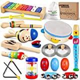 LOOIKOOS Toddler Musical Instruments Set Wooden Percussion Instruments Toy for Kids Baby Preschool Educational Musical Toys for Boys and Girls with Storage Bag
