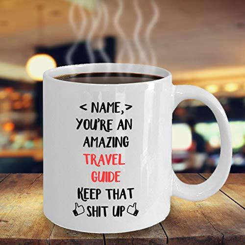 Regalo personalizado para guía de viaje, guía de viaje, taza blanca de 325 ml, regalo para guía de viaje, divertida guía de viaje personalizada