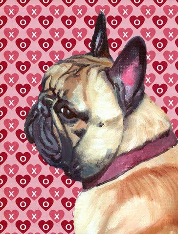 PatioPlus French Bulldog Frenchie Hearts Love and Valentines Day Flag Garden Size