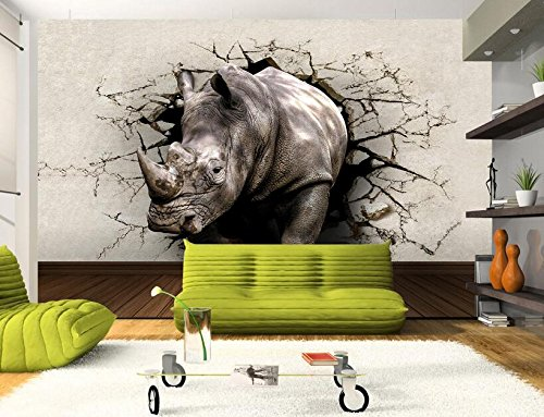 Malilove Custom Photo 3D Wallpaper Wandbild Bild Wall Sticker Rhino Loch In Der Wand Malerei 3D Wall Zimmer Wandmalereien Wallpaper