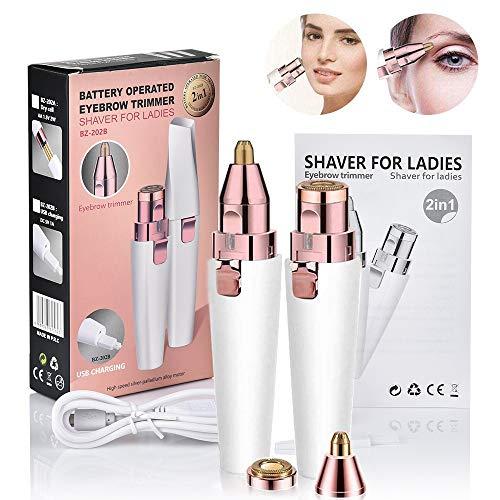 2 en 1Dispositivo de depilación de rostro femenino: afeitadora portátil, indolora y efectiva que elimina el vello facial, el mentón y el labio superior, las cejas, la carga USB (Blanco)