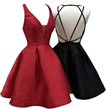 Uryouthstyle Deep V-Neck Sexy Backless 2019 Mini Homecoming Dresses