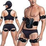 S&D USB aufladbare Abdominal Anreger, Fern EMS Muskeltrainer mit 6 Modi 10 Levels, Erwachsene Fitness Massage Gürtel Fitness-Gang für Bauch Arm Hüfte Bein,Blau