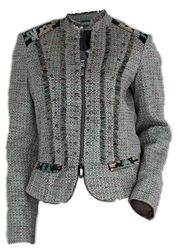 BIBA Damen Jacke Blazer Strick 422 Lovely weiß türkis (36)