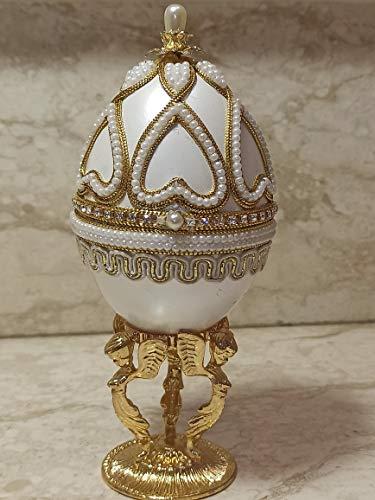Caja de música con huevo Fabergé de ángel de la guarda hecha a mano, regalo de bautismo para niña, caja de joyería de primera comunión, regalo de confirmación de bautizo, oro de 24 quilates