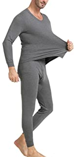 OVERMAL Long Johns Underwear Set Mens 2pc Long Thermal Underwear Set Ultra Soft Thermal Underwear Long Johns Set Fashion Mens Nightwear Long Sleeve Pyjama Suit with Trousers