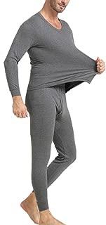 OVERMAL Long Johns Underwear Set Mens 2pc Long Thermal Underwear Set Ultra Soft Thermal Underwear Long Johns Set Fashion Mens Nightwear Long Sleeve Pyjama Suit with Trousers