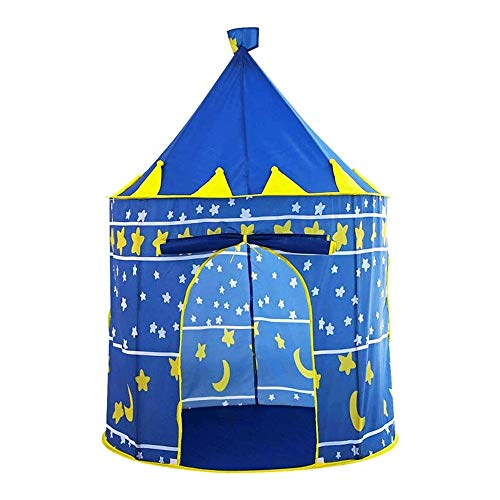 Bdesign Rocket Ship Tent - Space Themed Pretend Play Tent - Space Play House - Spaceship Tent for Kids - Foldable Pop Up Star Play Tent Blue