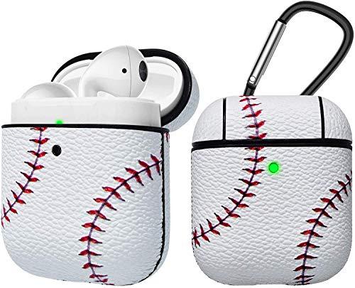 Eutekcoo Airpods Hülle,AirPods Case Stoßfeste Schutzhülle für Airpods 1 & 2[LED an der Frontseite Sichtbar][Unterstützt kabelloses Laden]PU Leder Skin & PC Plastic Inner Tasche mit Karabiner[Baseball]