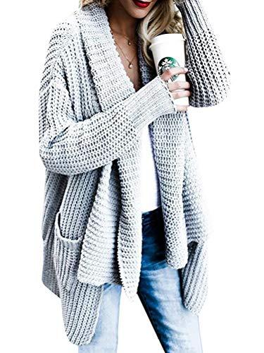 OranDesigne Strickjacke Damen Grobstrick Strickmantel strickcardigan Oversized Cardigan Strickmantel Casual Sweater Outwear Grau DE 36 Grau DE 36 Grau DE 36