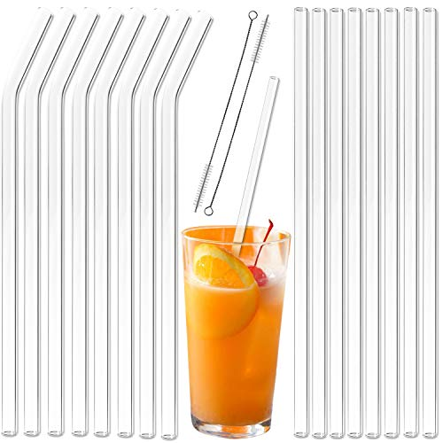 Youngever 16+2 Pack Reusable Glass Straws Assortment, 9 inches x 10 mm, Straight and Bent, Eco Friendly with Brush, Clear Color