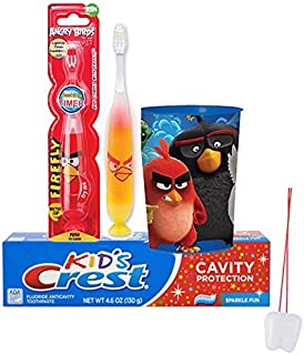 Angry Birds Chuck Inspired 3pc Bright Smile Oral Hygiene Set! Angry Birds Light Up Timer Toothbrush, Crest Kids Toothpaste & Mouthwash Rinse Cup! Plus Bonus Remember To Brush Visual Aid by SmileCare