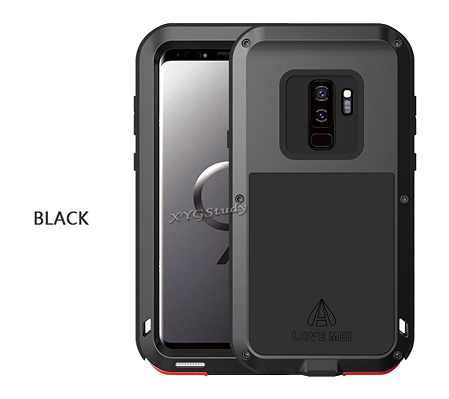 CoolWind New Samsung Galaxy S9+ Extreme Military Heavy Duty Gorilla Glass Aluminum Metal Shockproof Waterproof Bumper Cover Case for Samsung Galaxy S9 Plus (Black, Samsung Galaxy S9+)