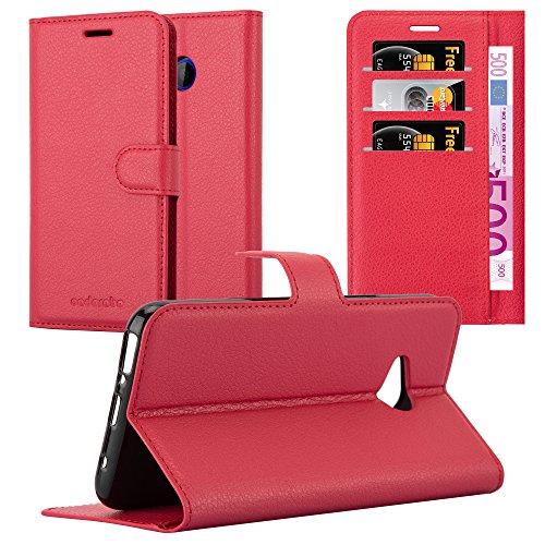 Cadorabo Hülle für HTC U11 Life in Karmin ROT - Handyhülle mit Magnetverschluss, Standfunktion und Kartenfach - Case Cover Schutzhülle Etui Tasche Book Klapp Style