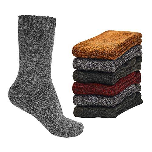 OCERA 6 Paar Damen Warme Cozy-Socken mit Vollfrottee und Soft-Bund im Farbmix - Grau, Rot, Gelb, Anthrazit Gr. 35/38