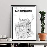 Kein Rahmen San Francisco Stadtplan Schwarz-Weiß-Leinwand ngs Minimalistische Poster Drucke Wandkunst Bilder für Wohnzimmer Home Decor 40x60cm