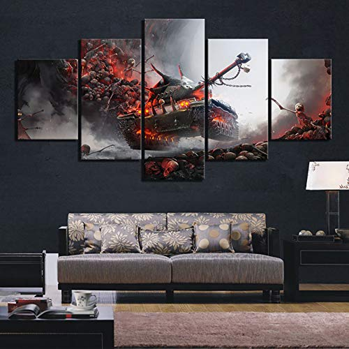 POLLKK 5 Tafelmalerei Wohnkultur Drucke Malerei Bilder 5 Panel Wandkunst World of Tanks Hd Modulare Leinwand Poster Nacht Hintergrund