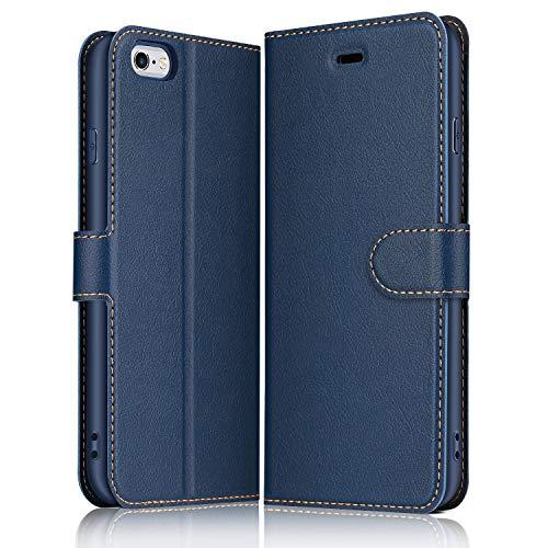 ELESNOW Hülle für iPhone 6 / 6S, Premium Leder Flip Wallet Schutzhülle Tasche Handyhülle für iPhone 6 / 6S (Blau)