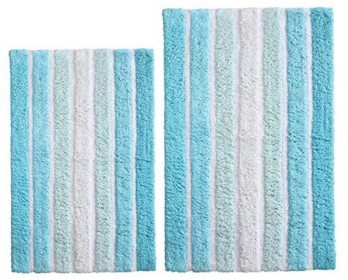 Bathroom Rugs Set 2 Piece in 100% Cotton Alpine Stripe 21x32/17x24 - Aqua Turquoise, Reversible Bath Rugs Set, Cotton Bath Mat,Cotton Bath Rugs, Soft Absorbent Machine Washable